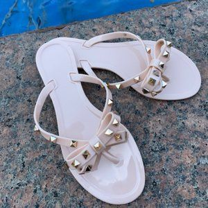 Shoes - Nude Color Jelly Rockstud Sandal